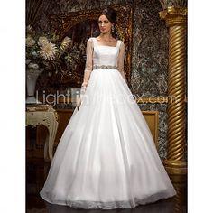 [GBP £ 123.19] A-line Princess Square Floor-length Tulle Wedding Dress (612942)