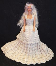 Fabulous Hand Crocheted Barbie Doll Wedding or Evening Gown
