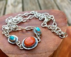Handmade Soldered Sterling Silver Oval Link Chain Necklace with Natural Ajax Turquoise & Spiny Oyster by OurBoySam on Etsy https://www.etsy.com/listing/517057942/handmade-soldered-sterling-silver-oval