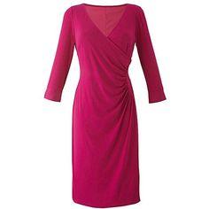 Lorraine Kelly Wrap Dress | Fashion World (3.790 RUB) ❤ liked on Polyvore featuring dresses, 3/4 length sleeve dresses, wrap dress, summer dresses, 3/4 sleeve summer dresses and purple dress