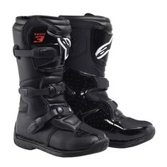 Alpinestars Boots Tech 3-S - Black - Kids  Constructed using coated leather upper and suede Designed specifically for junior riders 3-stage instep flex zone for maximum comfort, control and support Exclusive rubber outsole design with unique side wrapping design External suede panel located on calf area of boot to provide grip against bike Removable anatomical foot bed Internal toe and heel protection PU reinforcement molded into the inner structure for enhanced protection.