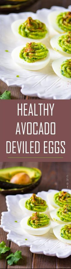 Platter of healthy deviled eggs topped with avocado jalapeno olive oil and lime juice sauce