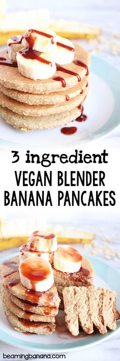 Vegan blender banana pancakes are made with just 3 healthy ingredients, all thrown in your blender! Gluten free and naturally sweet.