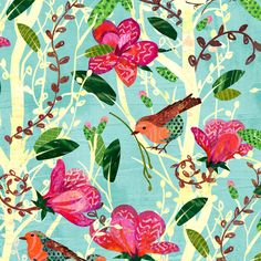 Robins and Blooms fabric by sarah_treu on Spoonflower - custom fabric