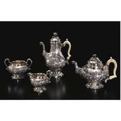 A Victorian silver four-piece tea set, Robert Garrard for R & S Garrard & Co., London, 1857