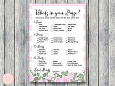 What's in your Purse Bridal Shower Game Purse Hunt by BrideandBows http://www.birthdaypartyideas4u.com/