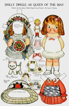 """Nuestras MiniaturaS - ImprimibleS: Dolly Dingle as queen of the May.. the artistry of Grace Drayton... she also drew under these names, Grace Gebbie and Grace Wiederseim. Most of you will recognize her for her """"Campbell Soup Kids"""" fame."""