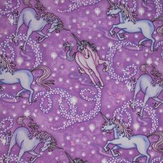 Timeless Treasures 9596 Lavender Unicorns Cotton by cutemonkey