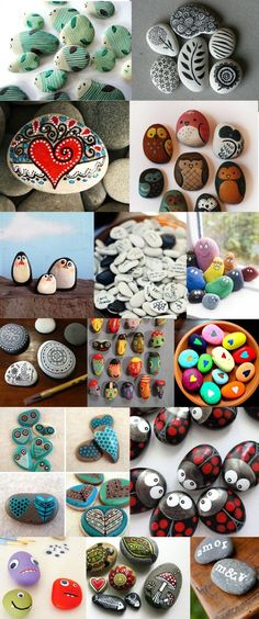 18 Creative Ideas for Painted Pebble and River Stone Crafts Kreative Ideen - Rock ist das hie Stone Crafts, Rock Crafts, Crafts To Sell, Crafts For Kids, Arts And Crafts, Summer Crafts, Paper Crafts, Diy Crafts, Pebble Painting