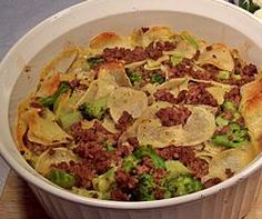 AuGratin Potato and Ground Beef Casserole - Packaged potatoes and frozen broccoli make this hamburger recipe easy and delicious.