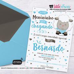 Convite Chá de Bebê Ovelhinha Menino para Imprimir