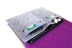 iPad mini Case Organizer / iPad mini Case / iPad mini Cover - Light Grey & Purple -Two Front Pocket and extra slots