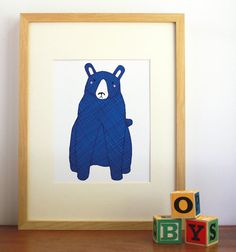 Blue Bear Print Nursery Art Children Decor  Free US by Gingiber, $23.00 #madeinusa #munire #pinparty