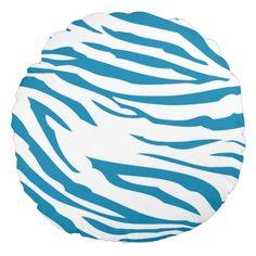 Aqua Blue Zebra Print round pillow