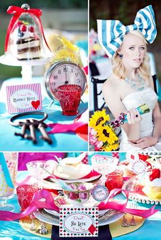 Alice in Wonderland themed wedding...not sure I like this as a wedding but it would be a cute tea party/bridal shower. Fun colors and lovely treats!