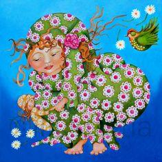 'Lady Angelica', acrylverf op doek, 50x50 cm. Geinspireerd door: Niki de Saint Phalle, Ada Breedveld, Michelangelo en heel veel vleugjes van mezelf