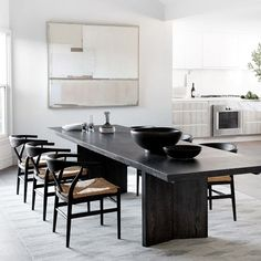 Black Dining Room Table, Modern Dining Table, Dining Table In Kitchen, Dining Table Chairs, Dining Room Design, Black Table, Modern Dining Room Furniture, Marble Dining Tables, Transitional Dining Rooms