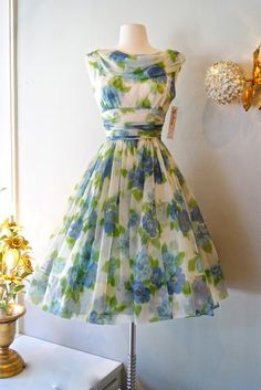 1950s Chiffon Garden Dress