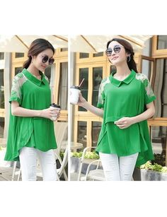 Chiffon Lace Stitching Irregular Short-sleeved Shirt Green XX15041409-2.http://www.clothing-dropship.com