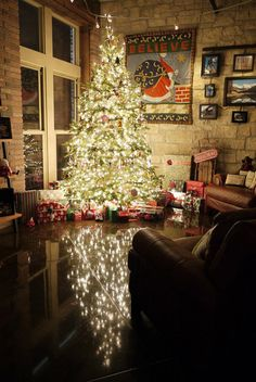 love the brightly lite Christmas tree + reflection on the tile. adorable!
