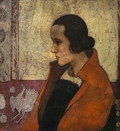 Anne Redpath (Scotland 1895-1965), Girl in a Red Cloak, oil/plywood, ca 1920. The sitter is believed to be Dr Elsie Bain, a lifelong friend. The work shows early evidence of Redpath's interest in combining both two-dimensional and three-dimensional forms, a feature typical of her later work. Collection National Galleries of Scotland, Edinburgh.