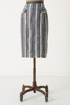 Anthropologie Ruse Skirt Sizes 4 & 8, Blue Striped Linen Pencil By Eva Franco #EvaFranco #StraightPencil