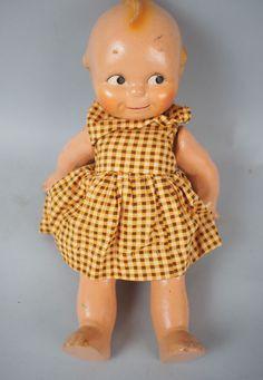 "Adorable Vintage 13"" Composite Kewpie Doll w/ Dress"