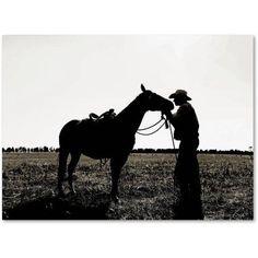 Trademark Fine Art Montana Horse Rancher Shadow 2 inch Canvas Art by Preston, Size: 35 x 47, Multicolor