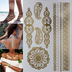 Metallic Henna Tatouage Body art tattoo stickers