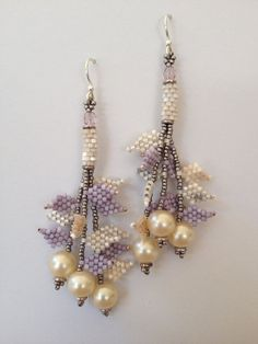 Petal Earrings, Cream, Lilac & Silver with Vintage Glass Pearls, Seed Bead Woven, Hand Made, One of a Kind, OOAK