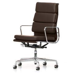 Vitra - Soft Pad Bürostuhl EA 219 Chrom, Chocolate Leder (Rollen für Hartböden) Braun T:59 H:110 B:58