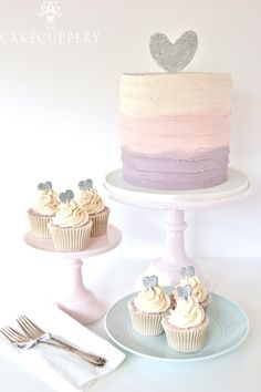 Watercolour Buttercream Cake and Cupcakes by The Cake Cuppery