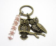 Bronze Owl Charm Keychain 2 Owls Czech by WhispySnowAngel on Etsy, $8.00