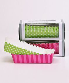 {Simply Baked Pink Stripe & Lime Polka Dot Paper Loaf Pan Set} What a cute way to make holiday gift loaves a bit more festive.