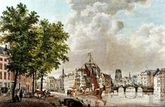 1780 Oude Haven en Geldersche Kaai Links de Gapersbrug (afgebroken in 1826) met de Beurs Rechts Kleine Draaibrug Tussen de 2 bruggen werd later Plan C gebouwd en Station Beurs