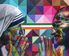 Kobra Street Art, Street Graffiti, Graffiti Art, Brazil Art, Andy Warhol Pop Art, Best Street Art, Arts Ed, Mixed Media Canvas, Geometric Art