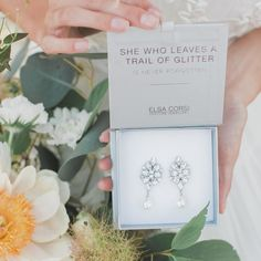 "fabulous vancouver wedding ""She who leaves a trail of glitter is never forgotten""...especially if that glitter is #ElsaCorsi! ------------------------------------------ #Photo @nomo.simplysweetphotography #glitter #jewelry #jewelrybox #sparkle #weddingplanning #vancouver #vancouvershopping #earrings #quotes #jewelryquotes #beautiful by @jewelietteshop  #vancouverwedding #vancouverwedding"