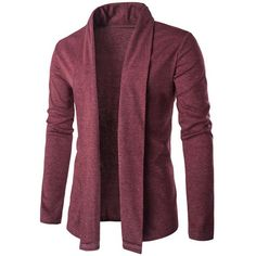 Slim Shawl Collar Drape Cardigan - Red L Mobile