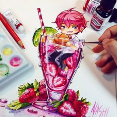 It's little Strawberry Kisumi Shigino from Free! He is one of my alltyme favourite Character ♡♡♡ I loved him in the Movie. It's my first *^____^* Tools: Dr PH Martin's concentrated watercolors, Canson montvalle watercolor paper, Faber Castell pencils Kawaii Chibi, Anime Kawaii, Anime Chibi, Manga Anime, Anime Art, Beautiful Drawings, Cute Drawings, Faber Castell Bleistift, Free Kisumi