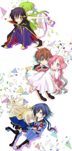 CODE GEASS, Fan art, Lelouch with C.C., Suzaku with Euphemia, Leila with Akito
