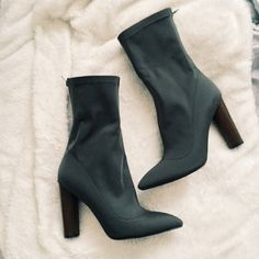 Green sock boots (yeezys season 1) look a likes Size 8 green sock boots. Worn once on New Years hardly any signs of wear. Public desire Shoes Ankle Boots & Booties
