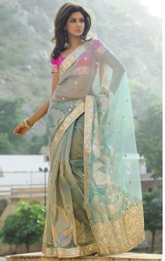 Teal Blue #Saree With Pink #Blouse.