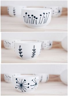 Porzellan bemalen - Boho and Nordic Pottery Painting, Ceramic Painting, Diy Painting, Rock Painting, Porcelain Painting Ideas, China Painting, Painted Porcelain, Pottery Mugs, Ceramic Pottery