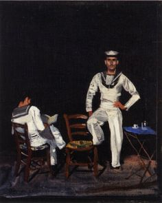 Study sailors at night, 1955 by Yannis Tsarouchis. Greek Paintings, Art Paintings For Sale, Original Paintings For Sale, Queer Art, Digital Museum, Acrylic Wall Art, Caravaggio, Portraits, Gay Art