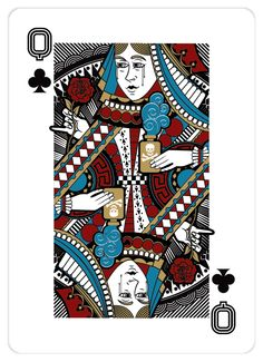 Playing card design: Queen of Clubs