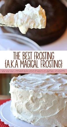 The Best Frosting (a. Magical Frosting)- The Best Frosting (a. Magical Frosting) The Best Frosting {a. This frosting really does live up to it& title the BEST. Frost Cupcakes, Baking Recipes, Cake Recipes, Dessert Recipes, Cake Filling Recipes, Cake Mix Cookies, Cookies Et Biscuits, Sugar Cookies, Cake Pops
