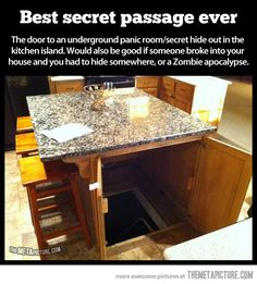 storm shelter/panic room/secret hid out in the kitchen island! Best secret passage ever! Definitely a dream home feature! (would also be good if someone broke into your house and you had to hide somewhere)QUARTO SECRETO. Underground Storm Shelters, Underground Bunker, Underground Cellar, Diy Home Security, Security Room, House Security, Security Safe, Home Defense, My New Room