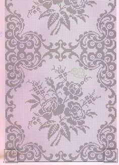 szydełko / filet / serweta na Stylowi.This Pin was discovered by DorŠeme za heklanje – Page 65 Filet Crochet Charts, Crochet Diagram, Crochet Motif, Crochet Doilies, Knit Crochet, Crochet Patterns, Cross Stitch Borders, Cross Stitch Flowers, Cross Stitch Designs
