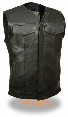 MEN'S SON OF ANARCHY LEATHER MOTORCYCLE VEST 2 GUN POCKETS INSIDE PREMIUM   #LeatherKing