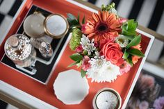 Pike Petals | Coffee Table Styling with Skeem Design  If you want to give your friends serious coffee table envy, check out the post and get inspired by all of Skeem's amazing candles and match jars, plus learn how to perfectly style your coffee table. //  home decor • candles • flowers • interior design • nature • plants • marble • gold • matches • table tray • bouquet • roses • coasters • living room • style